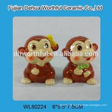High quality ceramic pepper & salt shakers in monkey shape