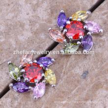 flor estrela brincos de prata do parafuso prisioneiro de zircão jóias de latão banhado a Ródio jóias é sua boa escolha