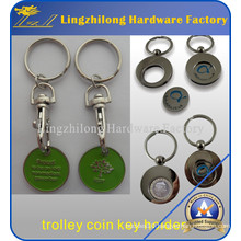 Promotional Rotatable Cheap Trolley Coin Keychains