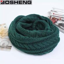 Verde Unisex invierno grueso cálido tejido de punto Círculo Infinity bufanda