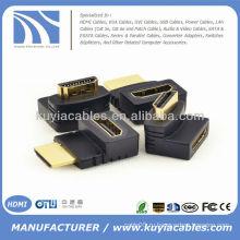 HDMI между мужчинами F / M Разъем адаптера 90 градусов Разветвитель соединителя