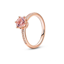 S925 sterling silver new pink sparkling crown solitaire ring wishing ring new product ring for men and women