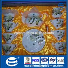 hot sale flower painting porcelain tea pot, coffee pot, water pot, 17pcs tea set