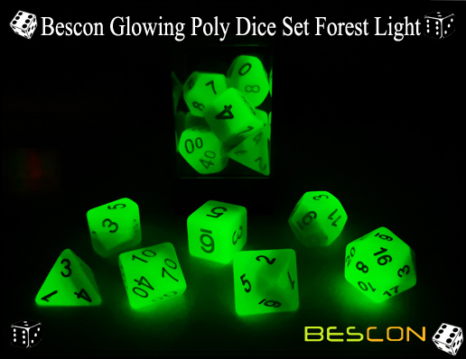 Bescon Glowing Poly Dice Set Forest Light-2