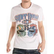 Mode Siebdruck Weiß Männer Baumwolle Benutzerdefinierte Großhandel T-shirt