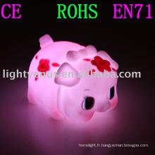 PVC gomme douce nouveau design cochon lampe de nuit