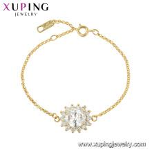 Pulsera en forma de flor de alta calidad chapada en cristal Xuping 75619 para damas