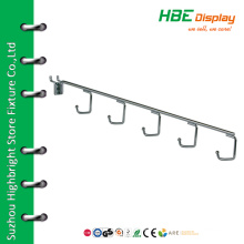 Pegboard waterfall hook hold for 6 tennis racquets