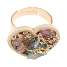18k Gold Color Natural Heart Drusy Crystal Rings