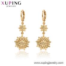 96996 xuping moda chapado en oro flor pendientes de piedra para las mujeres