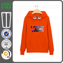 2016 Orange Fleece Günstige Herren 100% Baumwolle Plain Hoodie