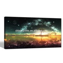 Arte de la pared de la lona del cielo nocturno / impresión de la lona del paisaje de la Luna Llena / pintura de la lona del paisaje