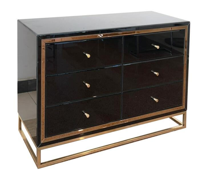 Black Gold 6 Drawer Chest Metal Leg