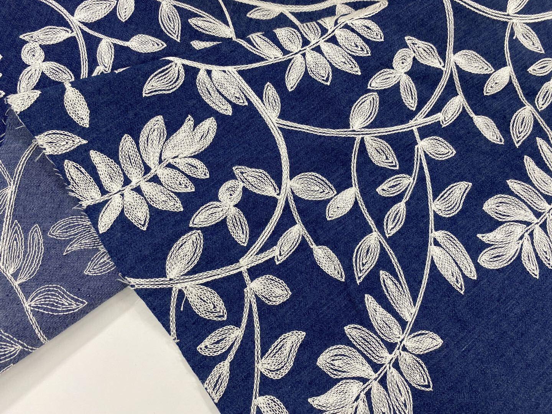 Denim Spandex Embroidery Fabric