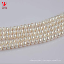 8-9mm Natural Freshwater Pearl Strands, Button Round