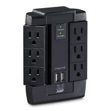 Surge Protector 6-AC Switches de saída com 2 portas de carregamento USB