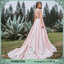 New design Alibaba satin see-through pink lady evening dress with chapel train