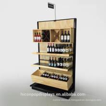 Wholesale Store 3 Tier Bamboo Metal Red Wine Holder Rack Wood Supermarket shelf Gondola Shelving for Sale