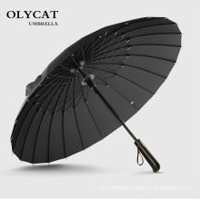 Hot Sale Brand Rain Umbrella Men Quality 24K Strong Windproof Glassfiber Frame Wooden Long Handle Umbrella Women's Parapluie