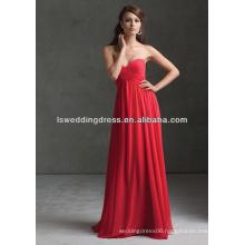 HB2102 Plain cheap strapless sleeveless sweetheart neck gathered top empire waist full length long red chiffon bridesmaid dress