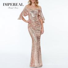 Sequin Rose Gold Flutter Sleeve Tight Red Carpet Modern Evening Dress Gown