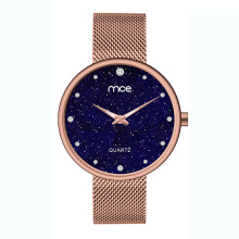 Rose gold mesh fashion lady star wrist watch