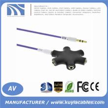 Высококачественный 3,5-миллиметровый многолучевой разъем для наушников Audio HUB Splitter 1 для 2 3 4 5 Женский порт с дополнительным кабелем New