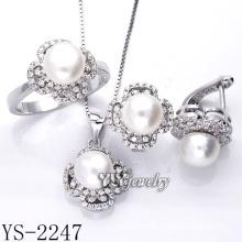 Prata esterlina jóias cultivadas Pearl Set 925 prata (YS-2247)