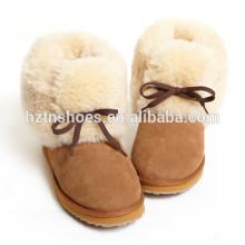 Moda Lady Ankle Boot Mulheres Botas de Inverno com pele fora