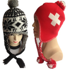 2016 New Warm Circle Computer Double Layer Cross Logo Jacquard Red Earflap Winter Jacquard Knitted Hats for Supplier