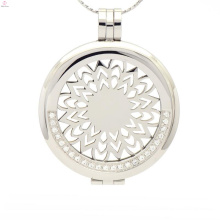 Coin necklace holder lockets with plate,silver crystal disc locket