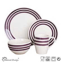 Set de cena de cerámica de 16 piezas con círculo pintado a mano de color púrpura