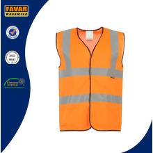 Chaleco de seguridad reflectante Hi Vis en naranja fluorescente / amarillo