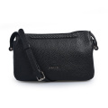 Pebbled Leather Women Leisure Black Crossbody Bolsos diarios