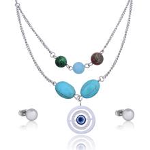 Conjunto de joyas étnicas de collar de perlas turquesa de Custome Eared Eye Bead
