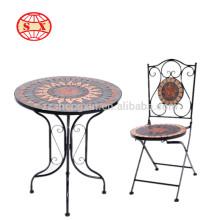 Nouvelle table et chaise de jardin en mosaïque antique en métal