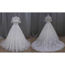 С Коротким Рукавом Кружева Аппликация Свадебное Платье