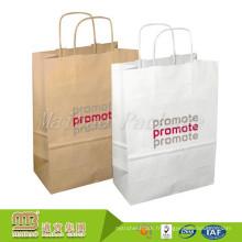 La coutume professionnelle de fournisseur a imprimé la poignée tordue empaquetant le sac en papier brun de 80Gsm Kraft