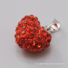 factory Shamballa Pendant Wholesale Heart Shape New Arrival 15MM Red Crystal Clay Pendant For DIY Jewelry