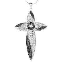 Schwarze weiße Stein 925 Silber Kreuz Anhänger Halskette Schmuck