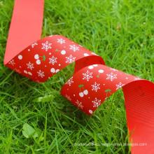 La cinta al por mayor del grosgrain de la impresión / la cinta al aire libre de la Navidad de la tela