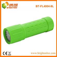 Fábrica de suministro de emergencia camping 9 LED de goma de plástico barato linterna