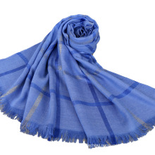 2017 Top selling latest fashion lady cotton plain stylish checked gold wire muslim hijab with tassels