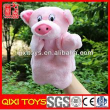 christmas pink pig hand puppets plush pig hand puppet toy