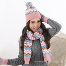 Factory supply woolen yarn winter women custom order knitted Winter 2 Piece Hat And Gloves Set