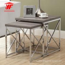 Metal Frame and Wood Top Coffee Table Set