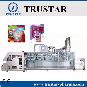 Stand up spout pouch yogurt filling sealing cap machine