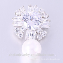 Newest design Zircon Brooch Lovely Woman Flower Pearl Brooch