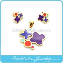 TKB-S42 Meilleur design 2014 en forme de fleur émail coloré ensemble de bijoux en acier en acier chirurgical bijoux en acier inoxydable définit pour les femmes