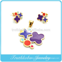 TKB-S42 Best design 2014 flower shaped colorful enamel jewelry set steel surgical steel jewelry stainless steel sets for women